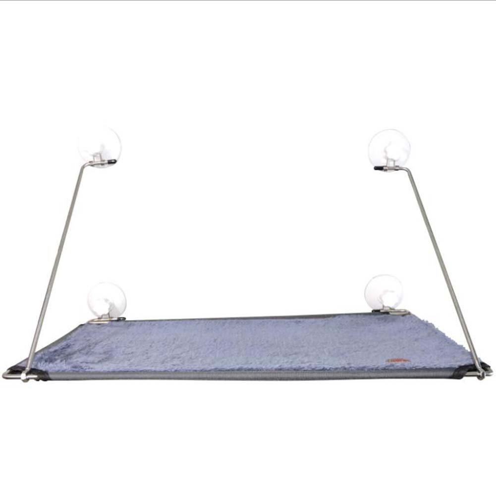 A Stainless Steel Sunbathing Cat Hammock Suction Cup Cat Pad 58.5  33.5Cm,A