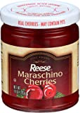 Reese Red Maraschino Cherries with Stem, 10-Ounces (Pack of 12)