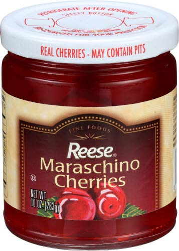 Reese Red Maraschino Cherries with Stem, 10-Ounces (Pack of 12) by Reese