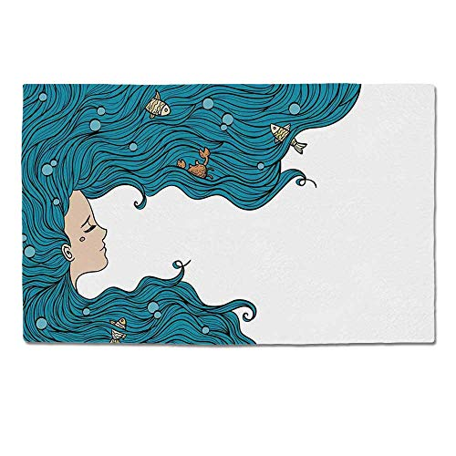 YOLIYANA Mermaid Decor Durable Door Mat,Girl with Big Hair Hairstyle Fly Away Fairytale Sleeping Crab Imaginary Artwork Decorative for Home Office,One Size