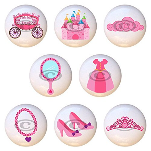 - SET OF 8 KNOBS - Princess by PP - DECORATIVE Glossy CERAMIC Cupboard Cabinet PULLS Dresser Drawer KNOBS