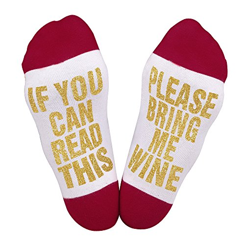 Best Gift Christmas socks Christmas Gift for Lover,friends, Mom and Father IF You Can Read This Funny causal cotton Xmas Socks, 2, US 6-11 (Wine Gifts Christmas)