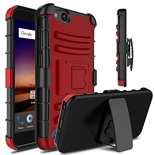 Venoro for ZTE Tempo X Case, ZTE Blade Vantage Case, ZTE Avid 4 Case, Heavy Duty Armor Holster Defender Full Body Protective Case Cover with Kickstand and Belt Swivel Clip for ZTE N9137 (Red/Black)