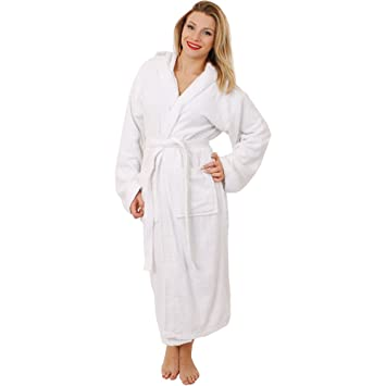 ac10c9ff8b WHITE HOODED BATHROBE THICK MATERIAL DRESSING GOWN - 100% COTTON TOWELLING  FULL LENGTH MENS LADIES GOWN - IDEAL BIRTHDAY GIFT (LARGE - X-LARGE)  ...