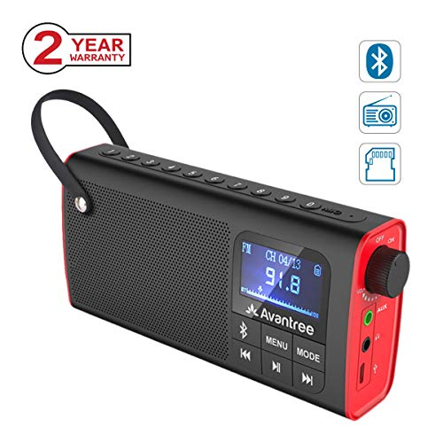 Avantree 3-in-1 Portable FM Radio with Bluetooth Speaker and SD Card Player, Auto Scan Save, LED display, Rechargeable Battery (No AM) - SP850