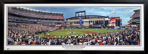 NY Mets Final Pitch At Shea Stadium Panoramic Framed