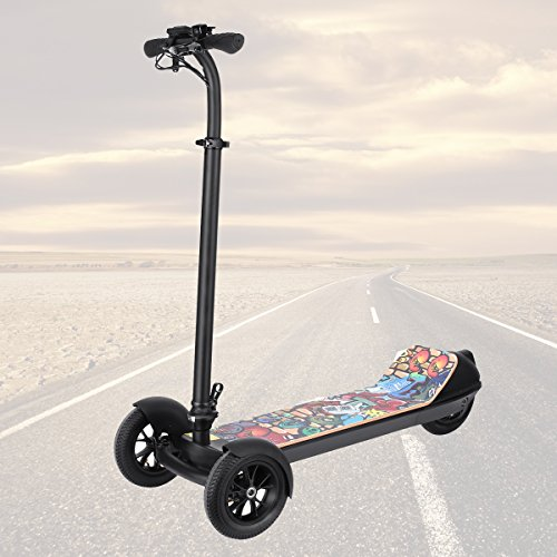Scooter Vehicle (Sheepfun 3 Wheels Electric Scooter for Kids/Adults with Lean-To-Steer System|Folding Electrical scooter E-scooter for Street Surfing with Ultra Wide Deck,LCD Display, Inflatable Tires 18Mph+)