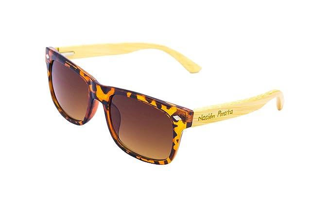 d2f628aab2 Nación Pirata - Gafas de Sol Madera Bambú y Policarbonato- Lente espejo,  polarizadas -