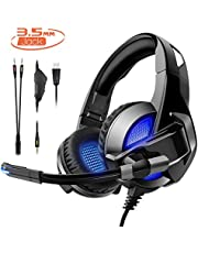 Rimila Stereo Gaming Headset Noise Cancelling Over Ear Headphones with Mic, Bass Surround, Soft Memory Earmuffs for Xbox One PS4 PC PSP PS Vita Xbox 360 Nintendo Switch