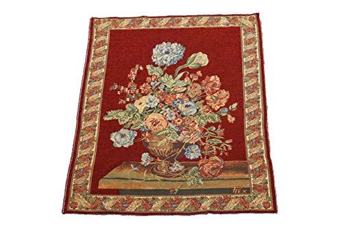 (Manhattan Oriental Rugs 5X6 Tapestry Flower Vase Made in Belgium 1970's Wall Hanging Floral Design Still Life (F))