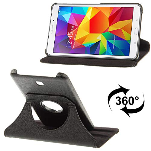 ALLSHOPSTOCK(#52 360度回転Litchiテクスチャーレザーケースfor Galaxy Tab 4 7.0 / SM-T230 / T231 / T235(ブラック)   B07LDMRP41