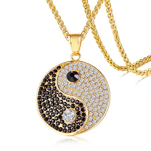 (Stainless Steel Hip Hop Iced Out Crystal Yin Yang Pendant Bling Bling Taoism Symbol Tai Chi Necklace for Men, 24