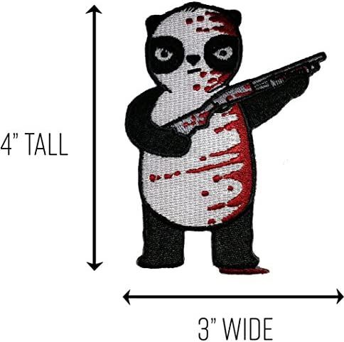 Randy Otter Black White /& Red All Over Bloody Panda Shot Gun Patch On Jacket Hat