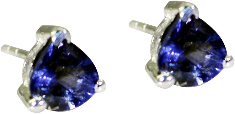 1.81 Natural Iolite Earrings  Sterling Silver Bezel Set Earrings  Two Tier Faceted Gemstone Earrings  Gift For Her  Christmas Gift BZ45