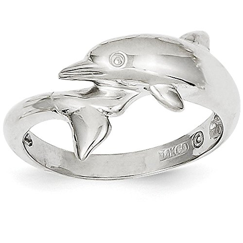Dolphin White Gold Ring (14k White Gold Dolphin Ring (13mm Width) - Size 9.5)