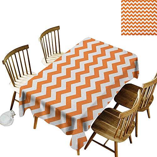 kangkaishi Washable Long Tablecloth Dinner Picnic Home Decor Halloween Pumpkin Color Chevron Traditional Holidays Autumn Season Celebrate W70 x L120 Inch Orange White]()