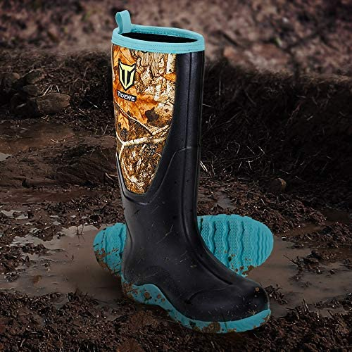 TIDEWE Rubber Boots for Women Multi-Season, Waterproof Muck Rain Boots with Steel Shank, 6mm Neoprene Durable Rubber Neoprene Outdoor Hunting Boots Realtree Edge Camo (Pink & Green)