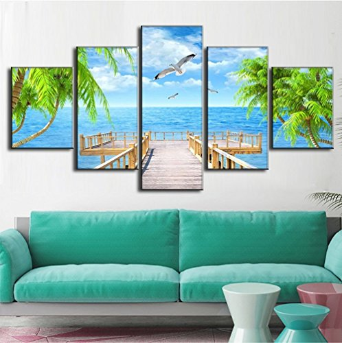 - Extra Large Landscape Painting on Canvas Modern Picture Seagulls Palm Tree Artwork 5 Piece Framed Seaside Wall Art for Living Room Home Deco Stretched Gallery Canvas Wrap Giclee Print(60''W x 40''H)