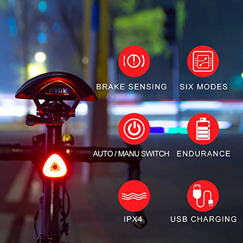 BOHSRL Bike Tail Light, Smart Brake Sensor USB Rechargeable Bicycle Rear Light, Waterproof LED (Best Bicycle Brake Lights)