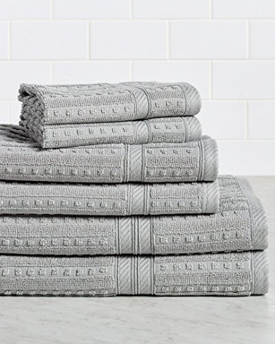 HomeCrate Naples 100% Cotton 6 Piece Towel Set - Silver - Hotel Quality, Super Soft Highly Absorbent by HomeCrate