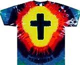 Tie Dyed Shop Rainbow Christian Cross Short Sleeve Tie Dye T Shirt-XLarge-Multicolor offers