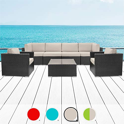 Walsunny 7pcs Patio Outdoor Furniture Sets,Low Back All-Weather Rattan Sectional Sofa with Tea Table&Washable Couch Cushions (Black Rattan (Khaki Armrest Version