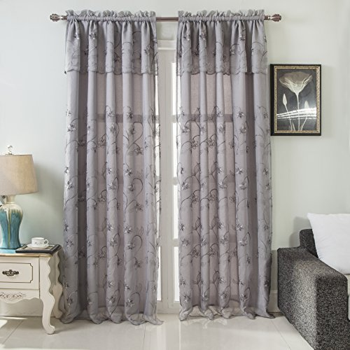 (RT Designers Collection Brett Floral Embroidered 54 x 84 in. Rod Pocket Single Curtain Panel w/Attached Valance, Silver, 54
