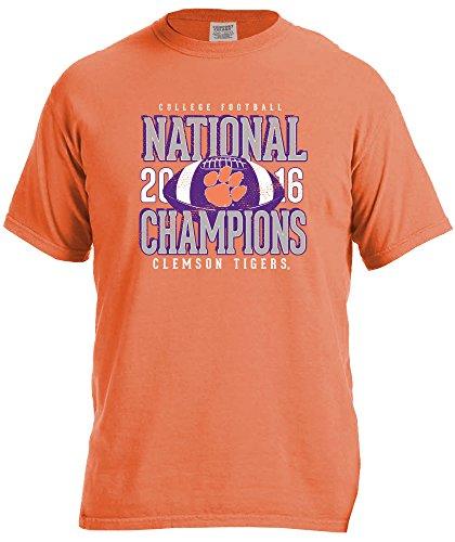 NCAA Clemson Tigers Adult NCAA National Champ Stacked Comfort Color Short sleeve T-Shirt,Large,BurntOrange ()
