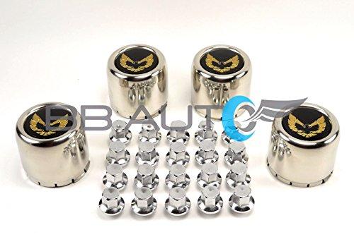 77-81 Pontiac Firebird Trans Am Formula Snowflake Turbo Gold Bird Round Metal Stainless Aluminum Wheel Hub Center Caps with Metal Clip Plus 20 Chrome Lug Nuts