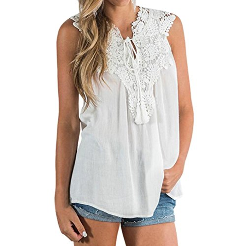 Limsea Women Vest, Lace Vest Top Sleeveless Blouse Tank Loose Tops (Cotton Embroidered Vest)