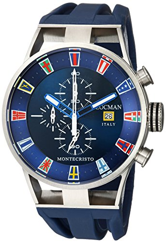 Locman Italy Men's Montecristo Yacht Club CH Stainless Steel Quartz Diving Watch with Rubber Strap, Blue, 26 (Model: 051000BLFLAGGOB)