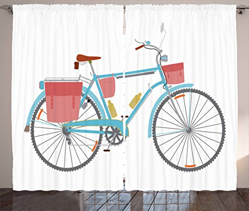"""Ambesonne Bicycle Curtains, Classic Touring Bike with Derailleur and Saddlebags Healthy Active Lifestyle Travel, Living Room Bedroom Window Drapes 2 Panel Set, 108"""" X 90"""", Pink Blue"""