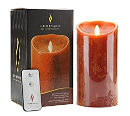 Luminara Flameless Candles Real Flame Effect Candle Pillar With Timer and Remote (3.5 x 7-Inch, Mottled Orange)