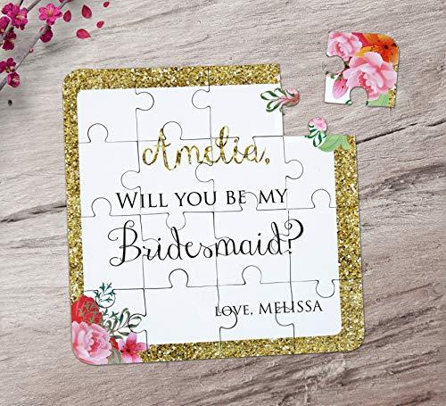 Bridesmaid Puzzle Invitation. Will You Be My Bridesmaid Puzzle. Custom Puzzle Invitation with Gold Glitter Borders.