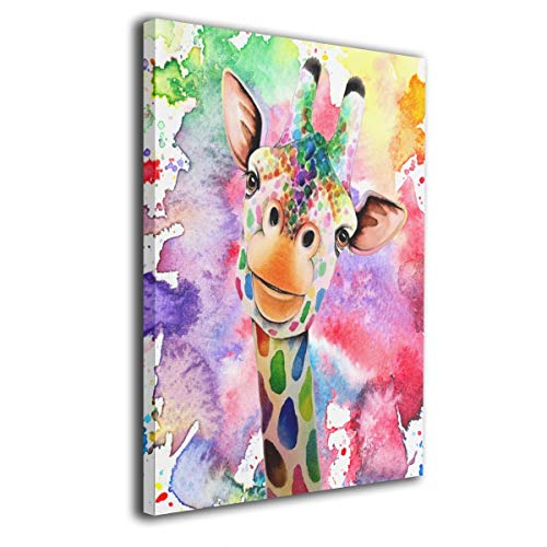 (Arnold Glenn Watercolor Giraffe Canvas Wall Art Prints Picture Contemporary Paintings Decorative Giclee Artwork Wall Decor Wood Frame Gallery Wrapped)