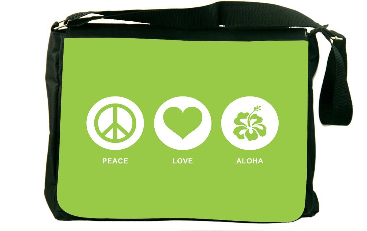 Rikki Knight Peace Love Aloha Lime Green Color Messenger Bag School Bag