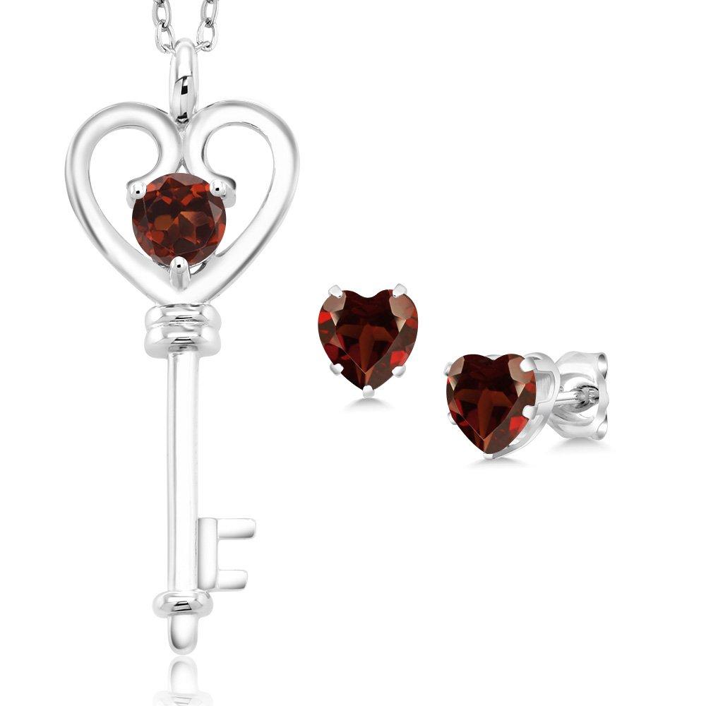 1.65 Ct Round Red Garnet 925 Sterling Silver Key Pendant Earrings Set