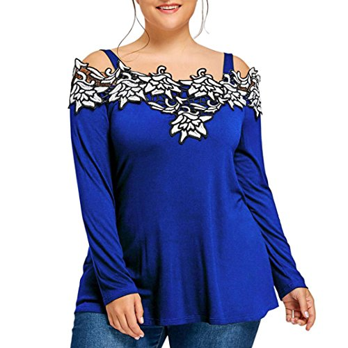 kaifongfu Womens Cold Shoulder Tops,Plus Size Pullover Blouse Cold Shoulder Embroidered T-Shirt (XXXXL, Blue) ()