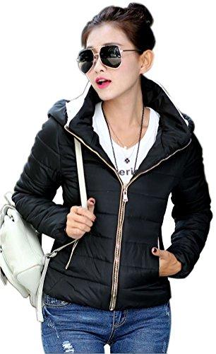 Mojessy Women's Winter Faux Fur Hooded Coat Parka Short Jacket Overcoat XX-Large Black (Womens Winter Coats Short)