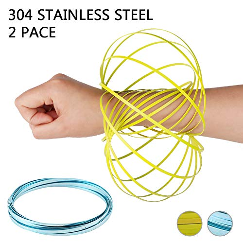 HAS Magic Flow Ring Spiral Spring Toy Multi Sensory Arm Spinner Toy Science Education and Interaction Flow Ring for Kids and Adults Magic Fluid Bracelet Spring Toys(2 Pack, Blue&Yellow)