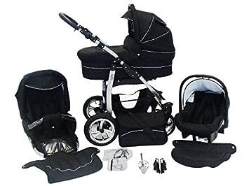 Chilly Kids Dino 3 in 1 Cochecito combinado Kit de viaje (cubierta de la lluvia, mosquitero, ruedas giratorias 55 colores) 04 negro & negro