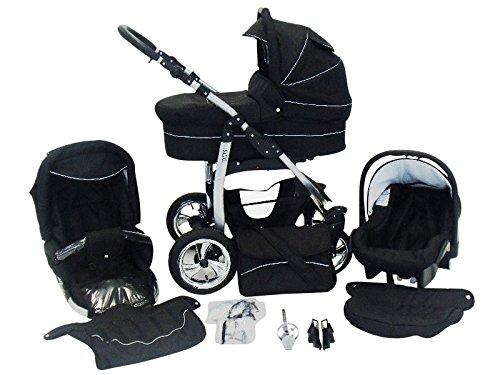 Chilly Kids Dino 3 in 1 Kinderwagen Set (Autosit & Adapter, Regenschutz, Moskitonetz, Schwenkräder) 04 Schwarz & Schwarz