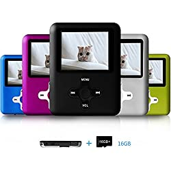 Lecmal Mp3 / Mp4 Player with 16Gb Micro SD Card and FM Radio Function, Media Player for Kids-Black