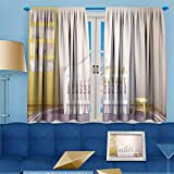 VROSELV 2 Panels Room Darkening Blackout Curtains, interior of nursery frontal view pictures in frames,Living Room Bedroom Window Drapes, 55'' W x 63'' L