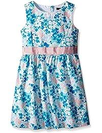 Baby Girls' Floral Print Dress With Grosgrain Belt