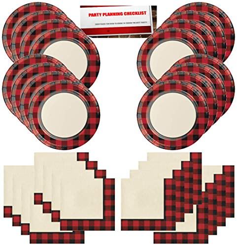 Buffalo Plaid Red Lumberjack Party Supplies Bundle Pack for 16 Guests (Plus Party Planning Checklist by Mikes Super Store) -