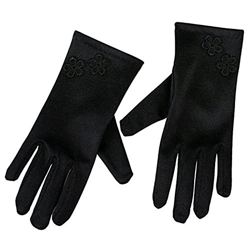 Women Wrist Length Adult Size Stretchy Satin Gloves (Black)
