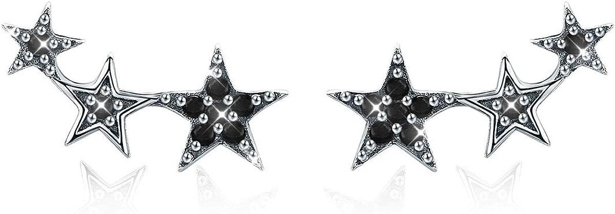 Pendientes estrella Mujer Plata de Ley 925 Ear Cuffs Hoop Climber hipoalergénicos circonita cúbica regalos día de Navidad para Niña mujer
