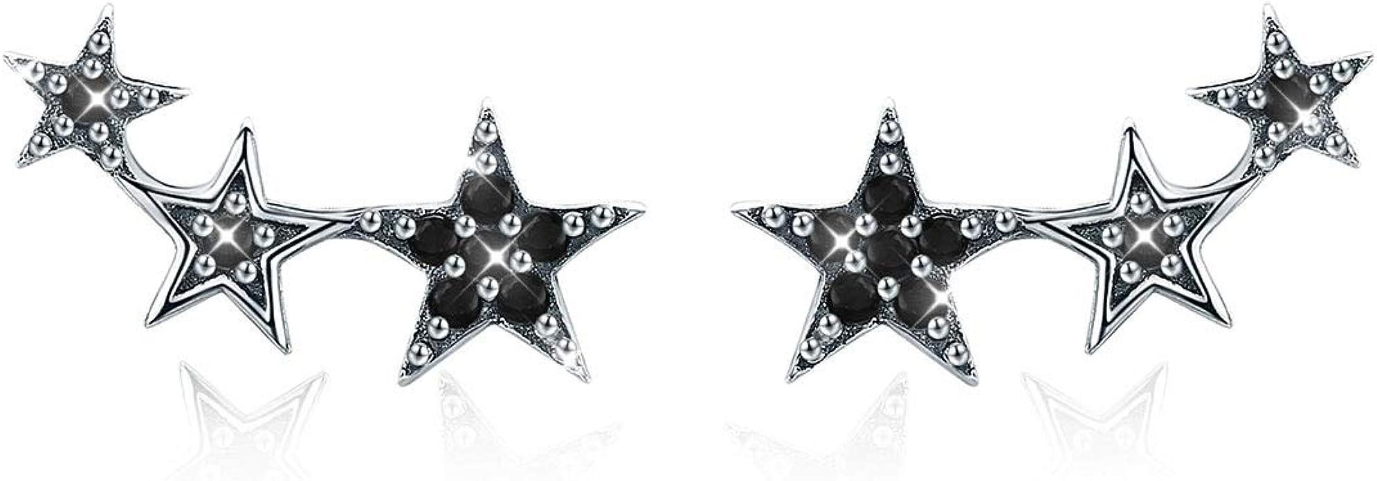 Pendientes Mujer Plata de Ley circonia negra estrella ear cuffs ...