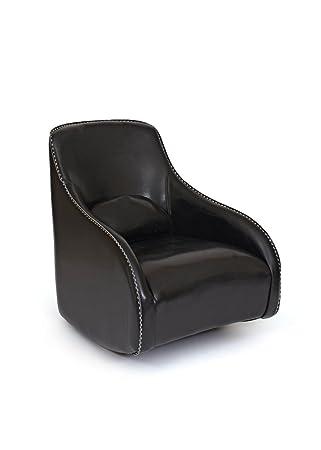 Modern Black Leather Slipper Chair | Contemporary Retro Armchair